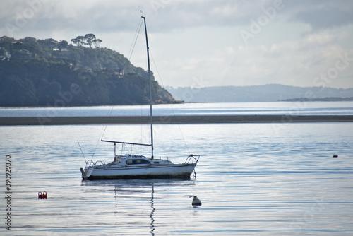 Foto AUCKLAND, NEW ZEALAND - Jun 13, 2019: View of small sailboat moored at Tamaki Ri