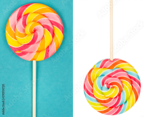 Tablou Canvas colorful lollipop isolated on white and blue