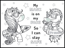 Cute Animals Wearing Face Masks. Coloring Page- Black And White Vector Illustration.