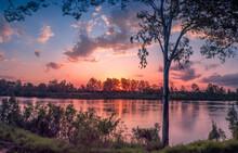 Beautiful Riverside Sunset Pan...