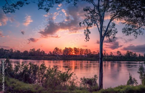 Beautiful Riverside Sunset Panorama Fototapet