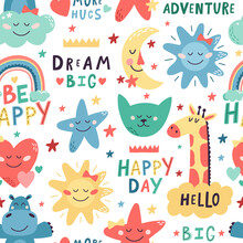 Cute Kids Pattern. Seamless Hand Drawn Cute Animals, Moon And Stars Backdrop. Nursery Creative Decoration Vector Background Illustration. Childish Design With Cat, Giraffe And Hippopotamus