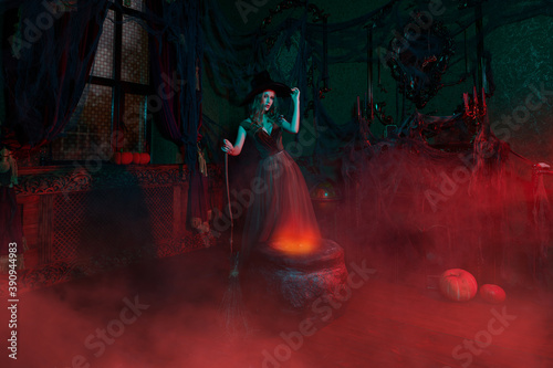 Foto witch conjures in a castle