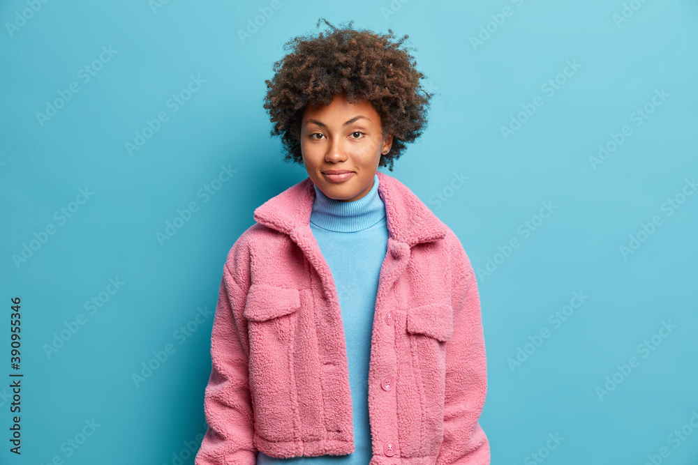Fototapeta Fashionable dark skinned woman has curly hair dressed in pink coat looks happily gazes confident at camera isolated on blue background. Good looking Afro American teenage girl has pleasaed expression