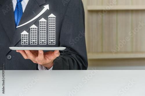 Real estate development with refinancing loan, financial concept : Developer wit Canvas Print