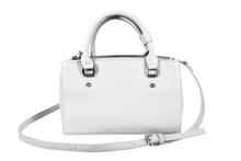 White Leather Woman Handbag Isolated On White Background. White Lady Shoulder Handbag With Strap Isolated
