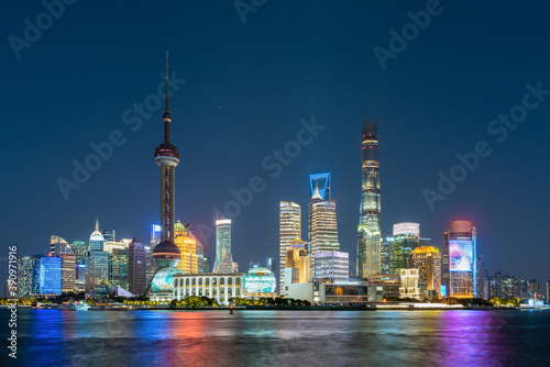Fototapety, obrazy: Night view of Lujiazui, the financial district in Shanghai, China.