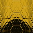 black background with strong gold geometric hexagonal mosaic designs and patterns
