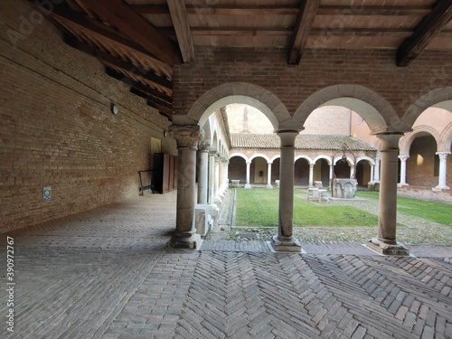 cloister convent with arches in ferrara Canvas
