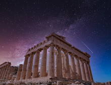 Parthenon Ancient Temple Under Dramatic Starry Sky, Athens Greece