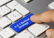 3-2-1 Backup Strategy - Inscription On Blue Keyboard Key.