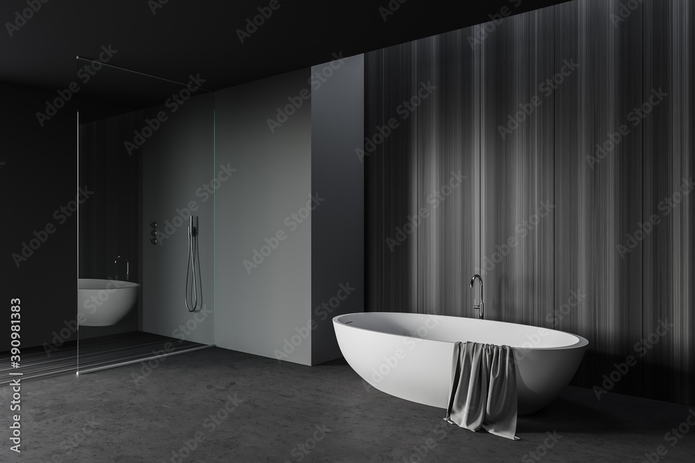 Fototapeta Gray and wooden bathroom corner with tub and shower