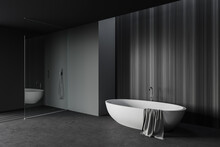 Gray And Wooden Bathroom Corne...