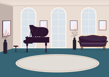Luxury Music Hall Flat Color Vector Illustration. Grand Piano For Concert. Contemporary Room. Rich House For Entertainment Event 2D Cartoon Interior With Musical Instrument On Background