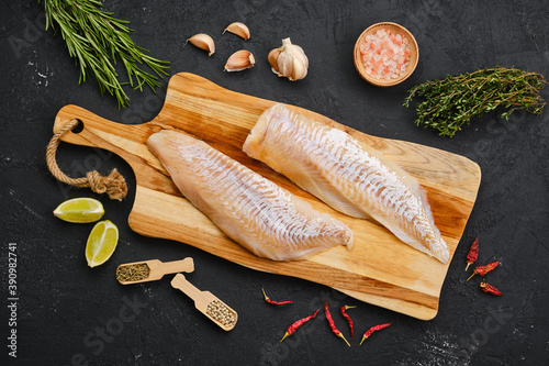 Top view of haddock fillet with seasoning