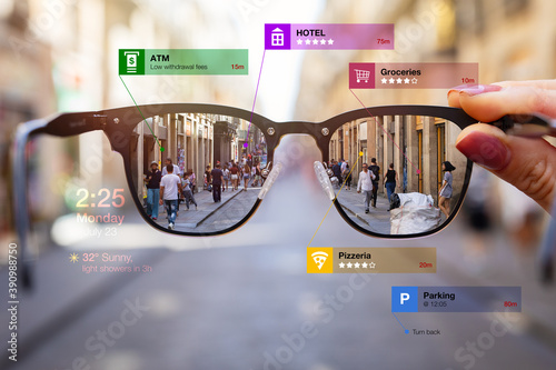 Fototapeta Concept of augmented reality technology being used in futuristic smart tech glasses obraz