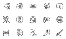 Set Of Violence Vector Line Icons. Domestic Abuse, Child Abuse, Victim Of Violence. Fight, Hit, Assault. Editable Stroke. 48x48 Pixel Perfect.