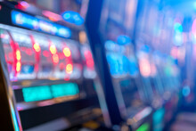 Abstract Blur Background Of Slot Machine In Casino Club Entertainment  Leisure Concept