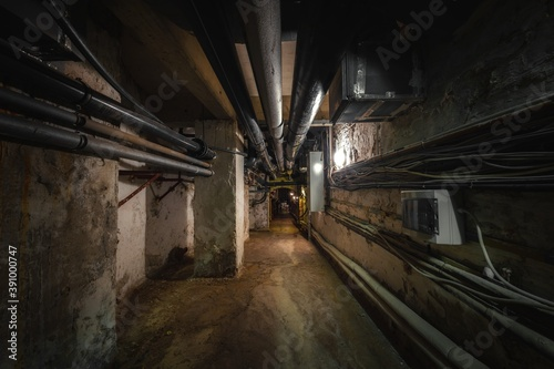 Fotografia, Obraz Old abandoned underground passage point of view