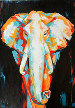 Oil Elephant Portrait Painting In Multicolored Tones. Conceptual Abstract Painting Of A Elephant On The Black Background On Canvas.