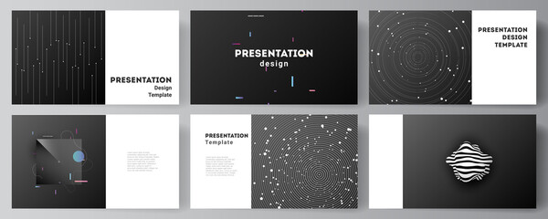 Vector layout of the presentation slides design business templates, multipurpose template for presentation brochure, brochure cover. Tech science future background, space design astronomy concept.