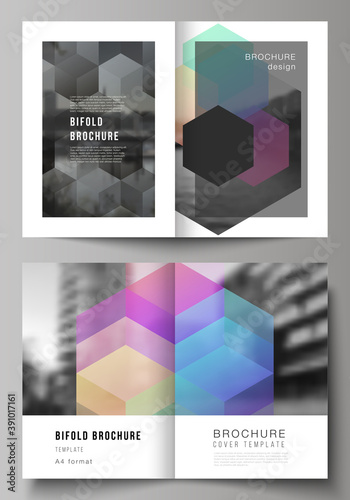 Fototapeta Vector layout of two A4 format cover mockups design templates with colorful hexagons, geometric shapes, tech background for bifold brochure, flyer, magazine, cover design, book design, brochure cover. obraz na płótnie