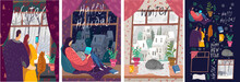 Vector Illustration. A Set Of Pictures About The Christmas Holidays, A Cozy Room In The Winter. People And Video Calls In The Period Of The Lockdown.