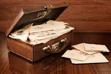Open Vintage Suitcase With Pos...