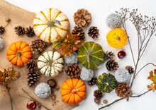 Spread Of Pumpkins And Pinecones On Burlap - Autumn Themed Background