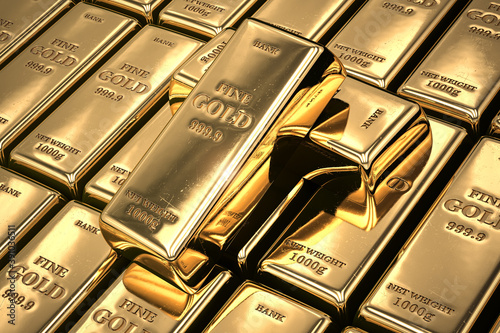 Gold bars or ingots in a row. Financial  and investment concept.