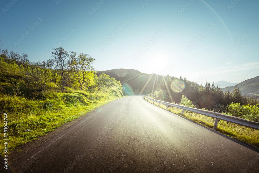 Fototapeta summer road in mountain, Lofoten islands, Norway