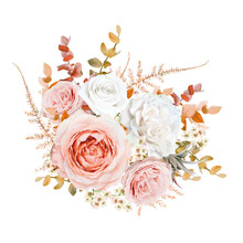 Bright Vector Floral Bouquet Design. Blush Peach, Pale Pink Rose, Ivory White Wax Flowers, Golden Brown, Orange Red Fall Eucalyptus, Ruscus, Fern Leaves Elegant Editable Isolated Cute Designer Element