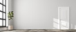 Leinwandbild Motiv Interior scene: nearly empty living room in a loft style building. Bright wall, stone floor, fig tree and white door. 3d render - web banner size.