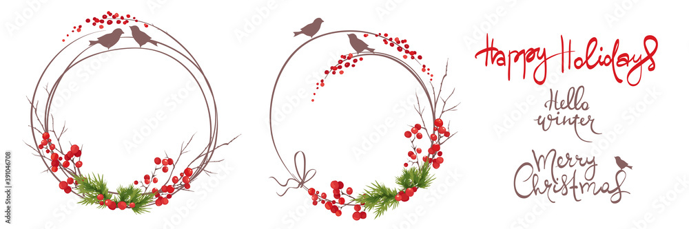 Fototapeta Winter frames, christmas backgrounds. Set vector design elements and holiday calligraphy. Fir branches, birds and red berries.
