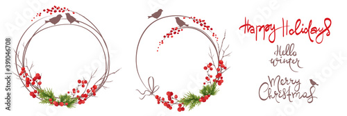 Obraz Winter frames, christmas backgrounds. Set vector design elements and holiday calligraphy. Fir branches, birds and red berries. - fototapety do salonu