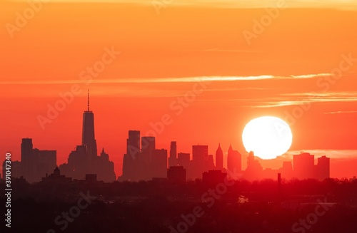 New York City downtown skyline sunrise