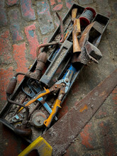 Old Tools On The Floor A Shed
