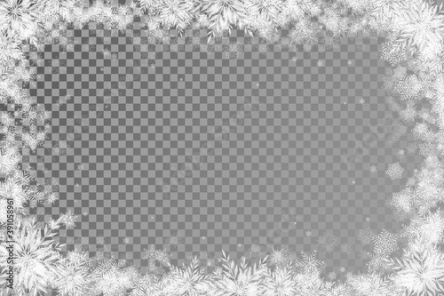 Photo fabulous Christmas background with transparent basis and lots of snowflakes arou