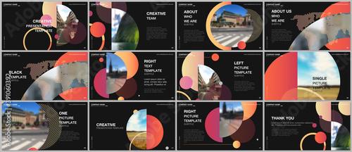 Fototapeta Presentation design vector templates, multipurpose template for presentation slide, flyer, brochure cover design, infographic report. Simple design background with circles, geometric round shapes. obraz