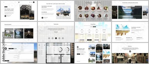 Fototapeta Vector templates for website design, presentations, portfolio. Templates for presentation slides, flyer, leaflet, brochure, report. Background template with lines, photo place for business design. obraz na płótnie