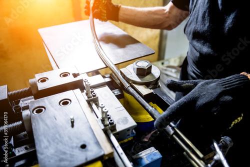 Obraz na płótnie Roll bending industry machine make pipe formation