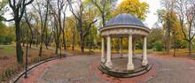 Rotunda In The Autumn Park. Drone View