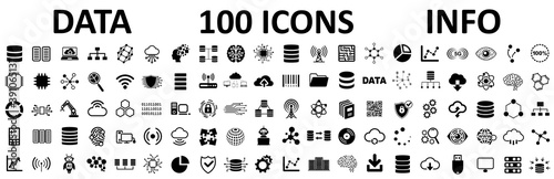 Database icons set, 100 big data universal icons set, data analysis, statistics, analytics web signs - stock vector