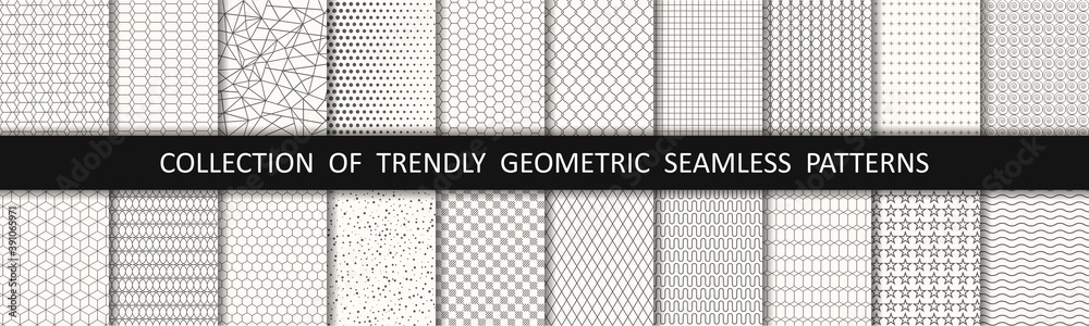 Fototapeta Set of geometric seamless patterns. Abstract geometric graphic design print pattern cubes. Patterns, backgrounds and wallpapers for design - stock vector