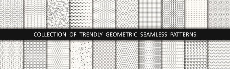Set of geometric seamless patterns. Abstract geometric graphic design print pattern cubes. Patterns, backgrounds and wallpapers for design - stock vector