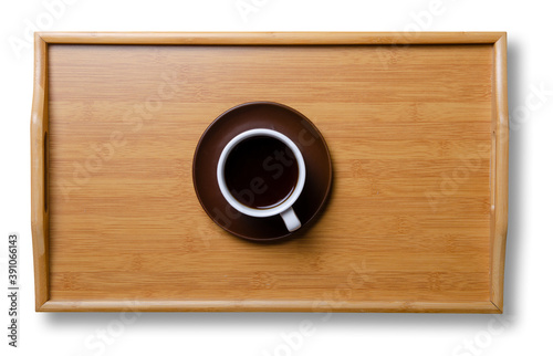 Fototapeta Cup of coffee on wooden tray on white background isolation, top view obraz
