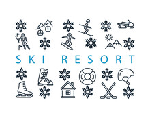 Winter Sport Rectangular Banner With Flat Line Icons. Vector Illustration Ski Resort Symbols On White Background Included Skier, Slalom, Snowboarder, Cableway, Equipment. In The Center You Can Write