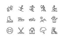 Winter Sport Flat Line Icons Set. Vector Illustration Ski Resort Symbols, Included Skier, Slalom, Snowboarder, Cableway, Equipment. Editable Strokes.