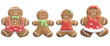 Happy Gingerbread Man Family. Christmas Decorated Cookies. Object Isolated on White Background