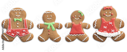 Fototapeta Happy Gingerbread Man Family. Christmas Decorated Cookies. Object Isolated on White Background obraz